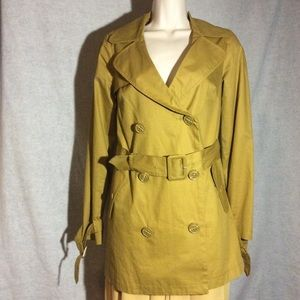 F21 Yellow Fashion Trench Casual Coat Size Small